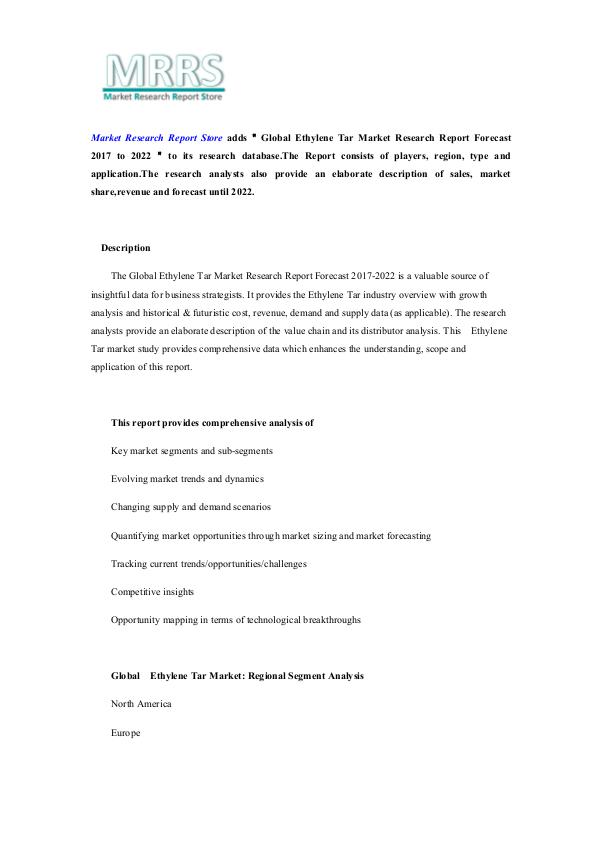 Market Research Report Store Global Ethylene Tar Market Research Report Forecas
