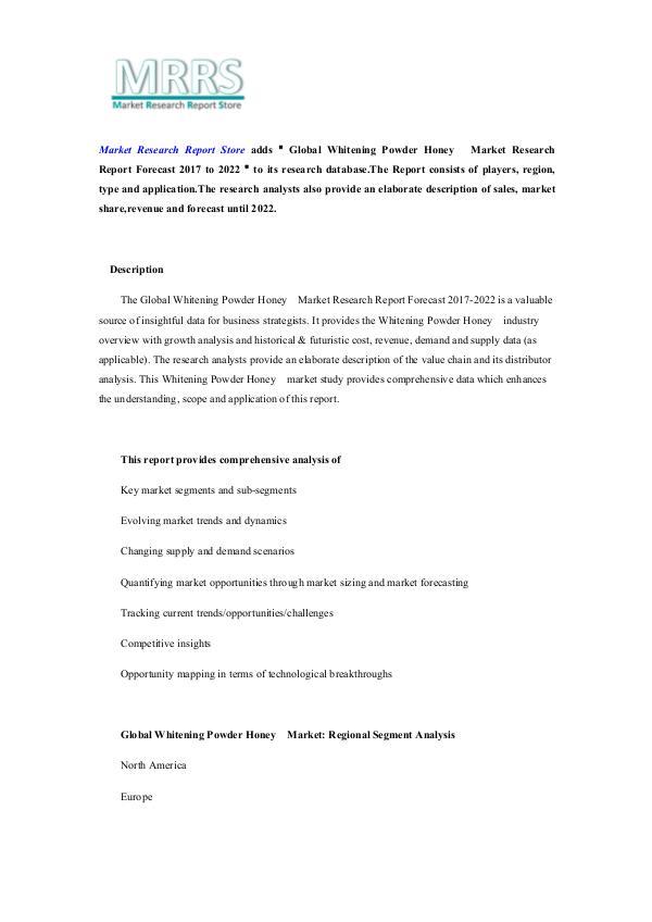 Global Whitening Powder Honey  Market Research Rep