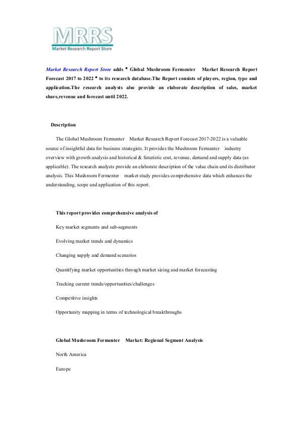 Global Mushroom Fermenter  Market Research Report