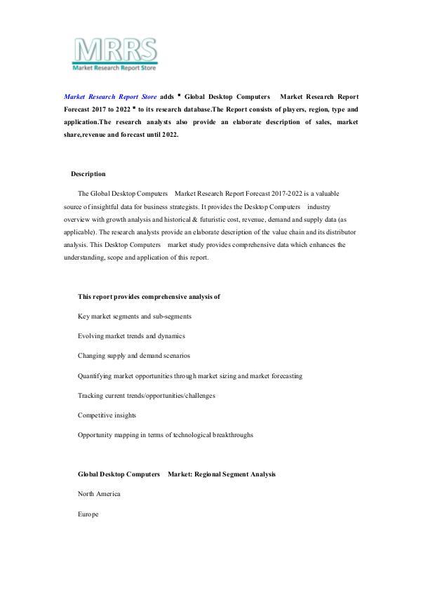 Global Desktop Computers  Market Research Report F