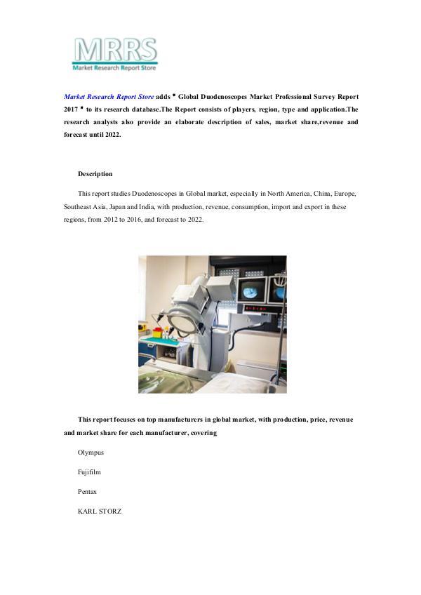 Global Duodenoscopes Market Professional Survey Re