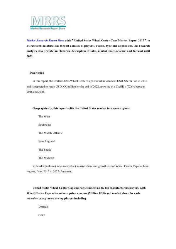 United States Wheel Center Caps Market Report 2017