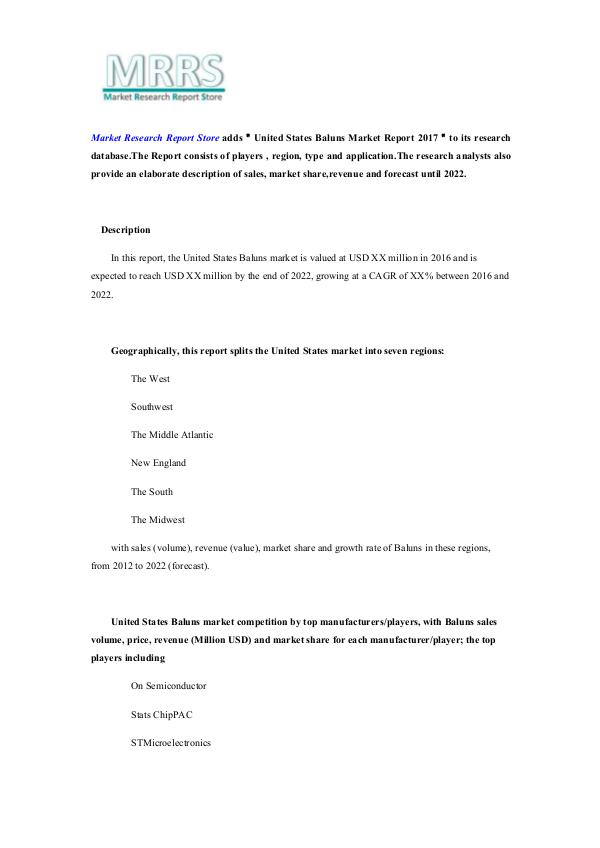 United States Baluns Market Report 2017