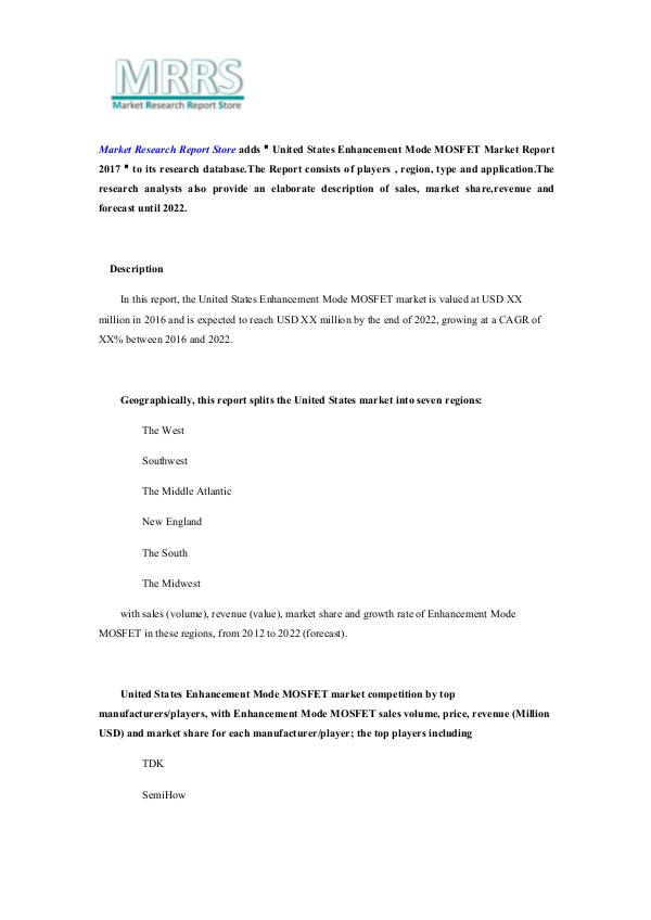 United States Enhancement Mode MOSFET Market Repor