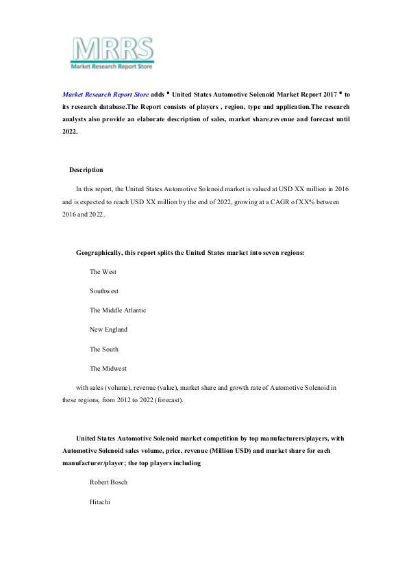 United States Automotive Solenoid Market Report 20