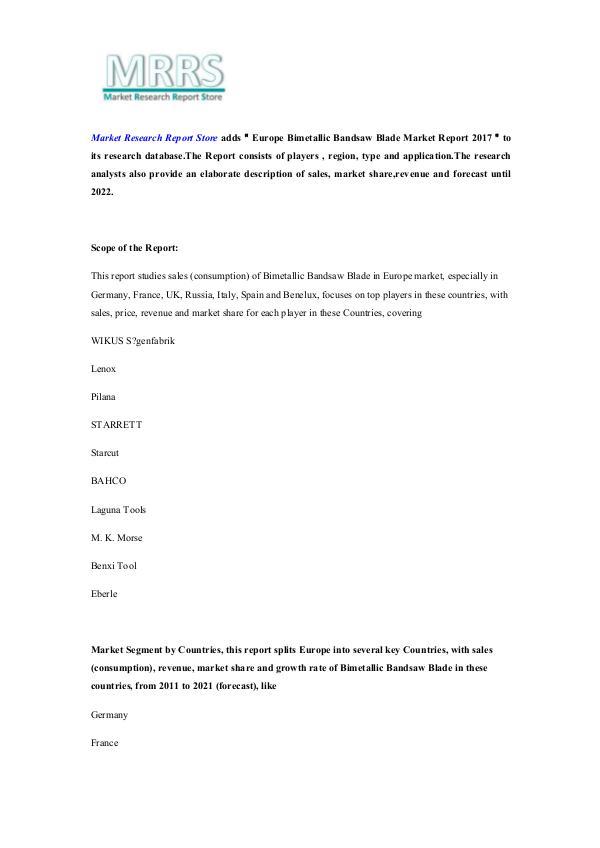 Market Research Report Store Europe Bimetallic Bandsaw Blade Market Report 2017