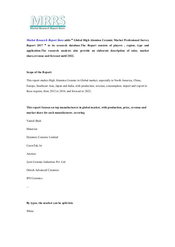 Market Research Report Store Global High Alumina Ceramic Market Professional Su