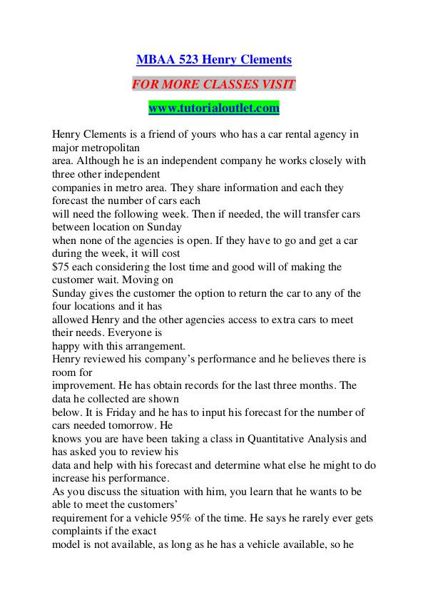 MBAA 523 Henry Clements/TUTORIALOUTLET DOT COM MBAA 523 Henry Clements/TUTORIALOUTLET DOT COM