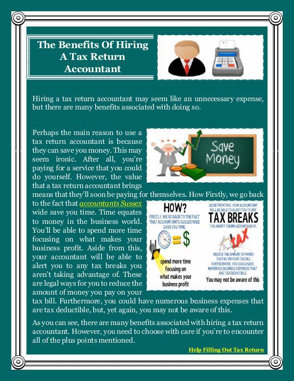 The Benefits Of Hiring A Tax Return Accountant The Benefits Of Hiring A Tax Return Accountant