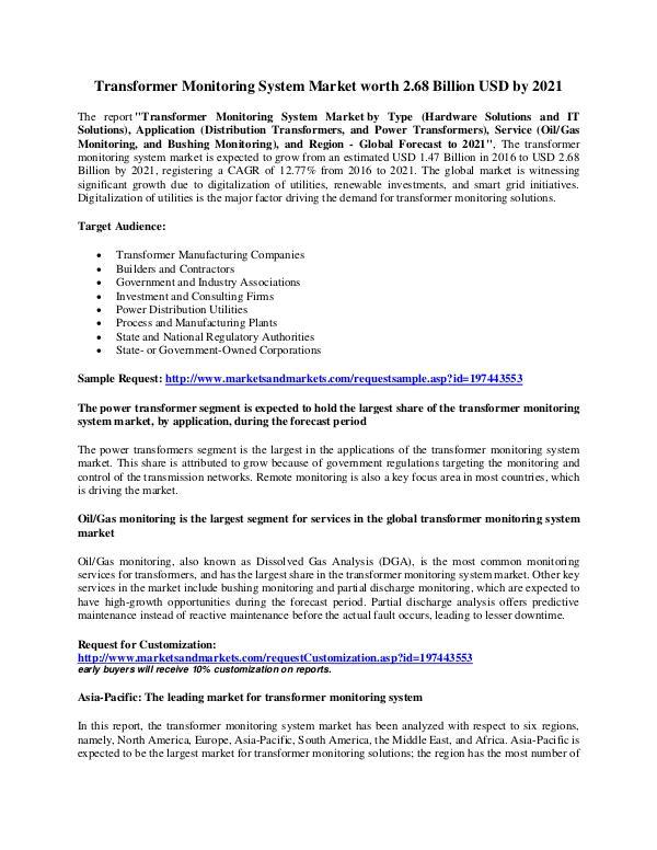 Transformer Monitoring System Market worth 2.68 Billion USD by 2021 Transformer Monitoring System Market