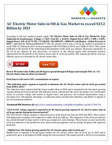 AC Electric Motor Sales in Oil & Gas Market to exceed $13 Bn by 2023
