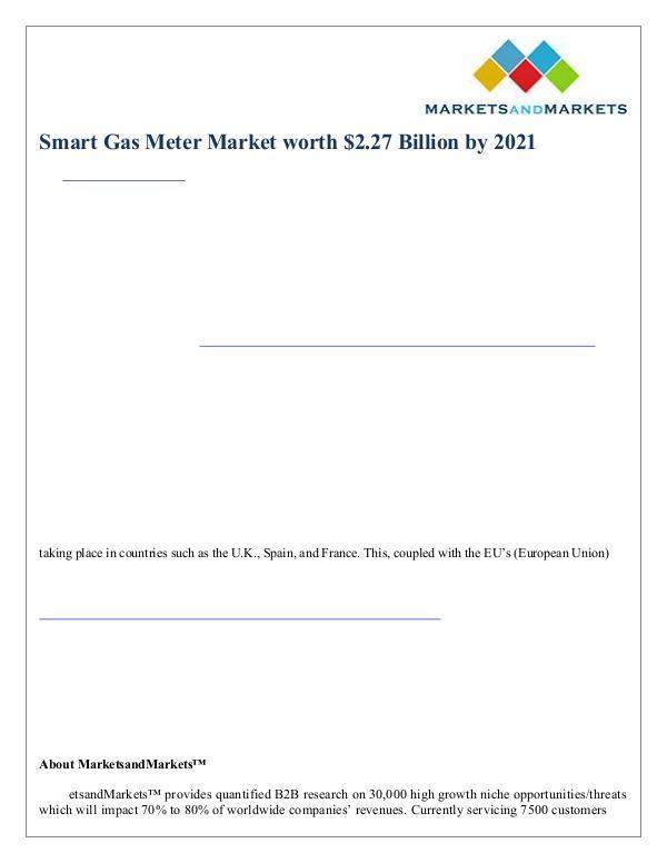 Smart Gas Meter Market worth $2.27 Billion by 2021 Smart Gas Meter Market worth $2.27 Billion by 2021