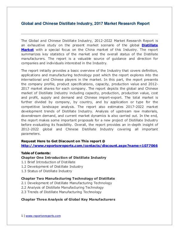 Distillate Market 2012-2022 Global Key Manufacturers Analysis Review Distillate Market Global and Chinese Analysis