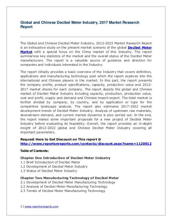 2017 Decibel Meter Industry Report 2017 Decibel Meter Industry Report