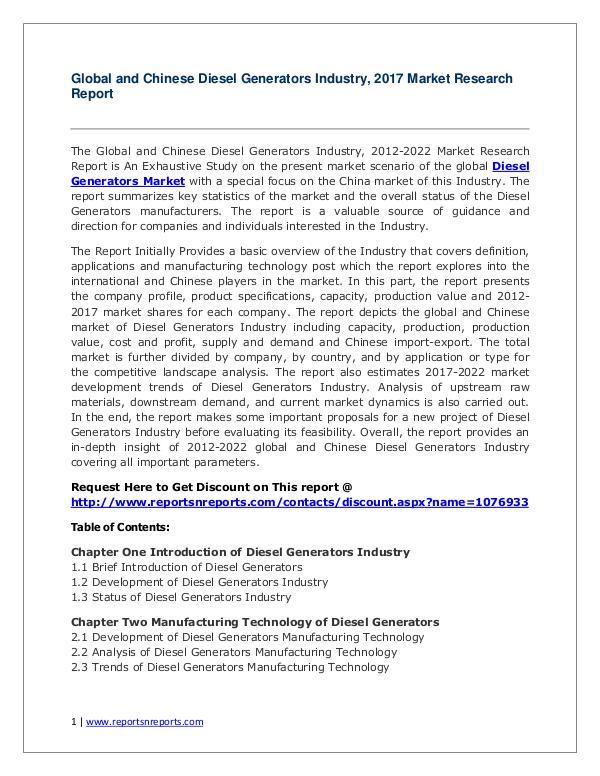 Diesel Generators Market Trends and 2022 Diesel Generators Industry Trends  2022