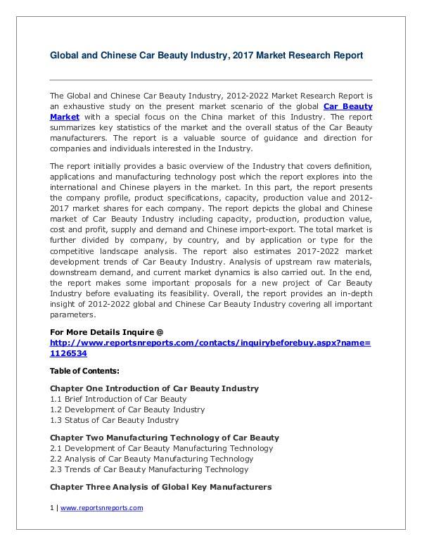Global Car Beauty Industry Analyzed in New Market Report Car Beauty Market 2012-2022 Analysis, Trends