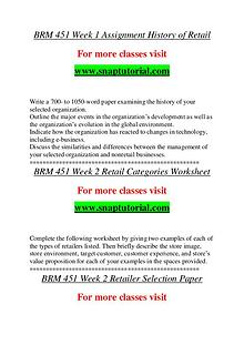BRM 451 help A Guide to career/Snaptutorial