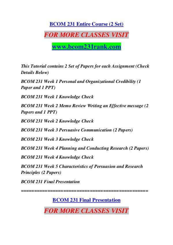 BCOM 231 RANK Great Stories Here/bcom231rank.com BCOM 231 RANK Great Stories Here/bcom231rank.com