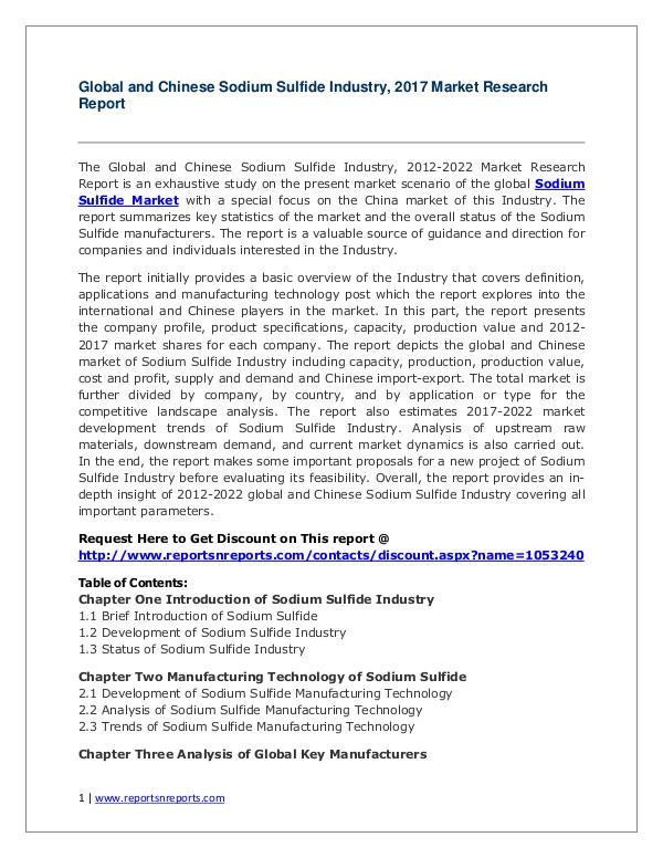 Sodium Sulfide Market Global and Chinese Analysis for 2012-2022 Global Sodium Sulfide Industry Analyzed