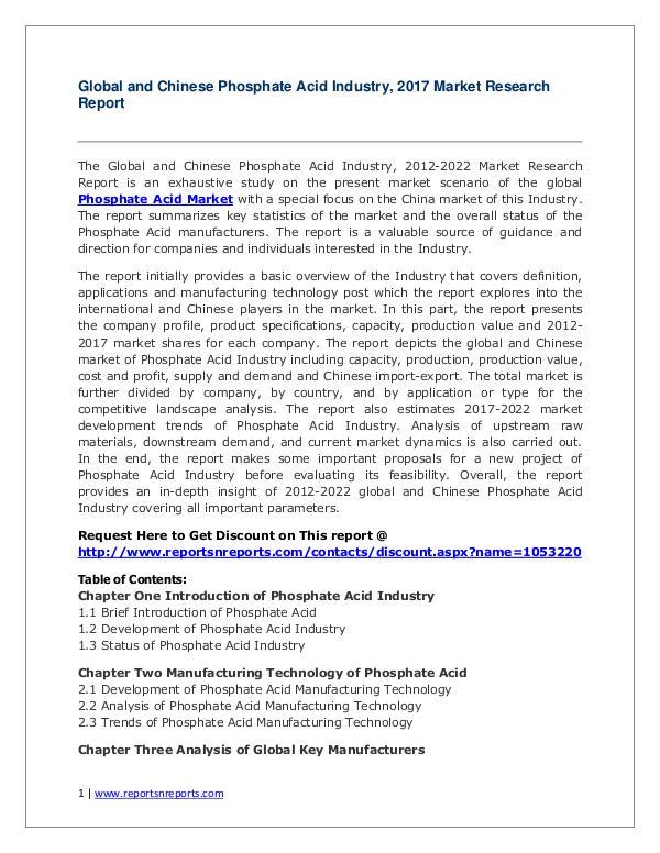 Phosphate Acid Market 2012-2022 Analysis, Trends and Forecasts Global Phosphate Acid Industry Forecast