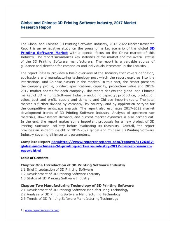 Global 3D Printing Software Industry Forecast Study 2012-2022 2017 3D Printing Software Industry Report