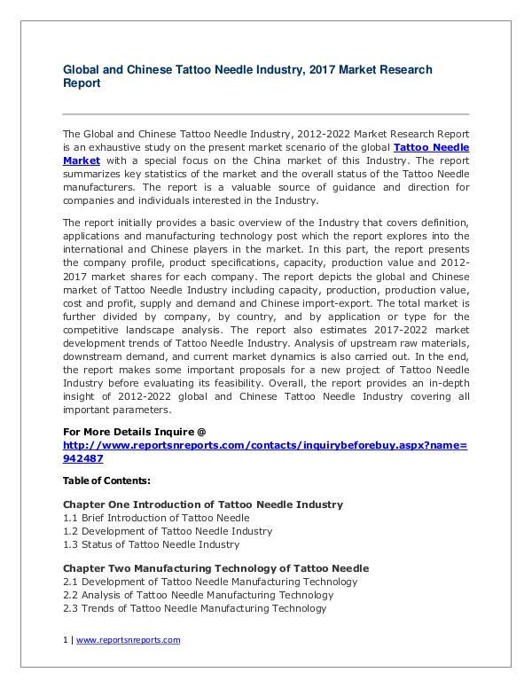 Tattoo Needle Industry Analyzed in New Market Report Tattoo Needle Market 2012-2022 Analysis.