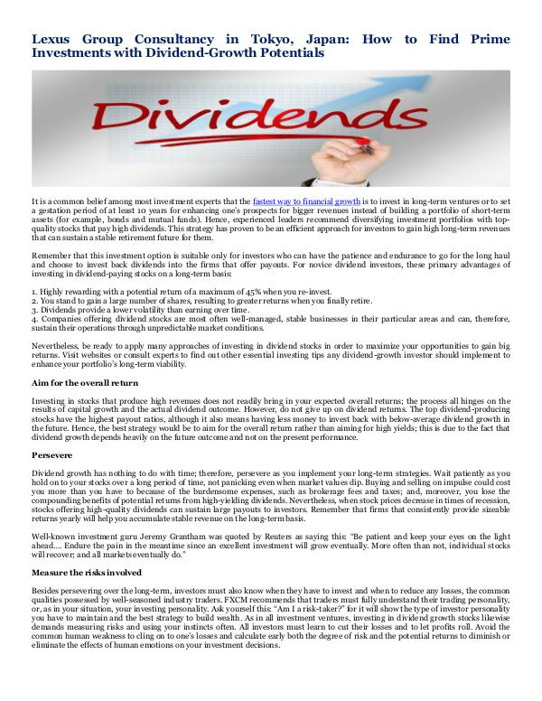 Lexus Group Consultancy in Tokyo, Japan How to Find Prime Investments with Dividend-Growth