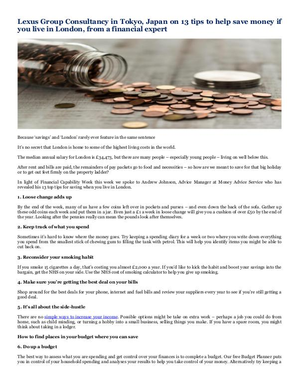 Lexus Group Consultancy in Tokyo, Japan 13 tips to help save money if you live in London