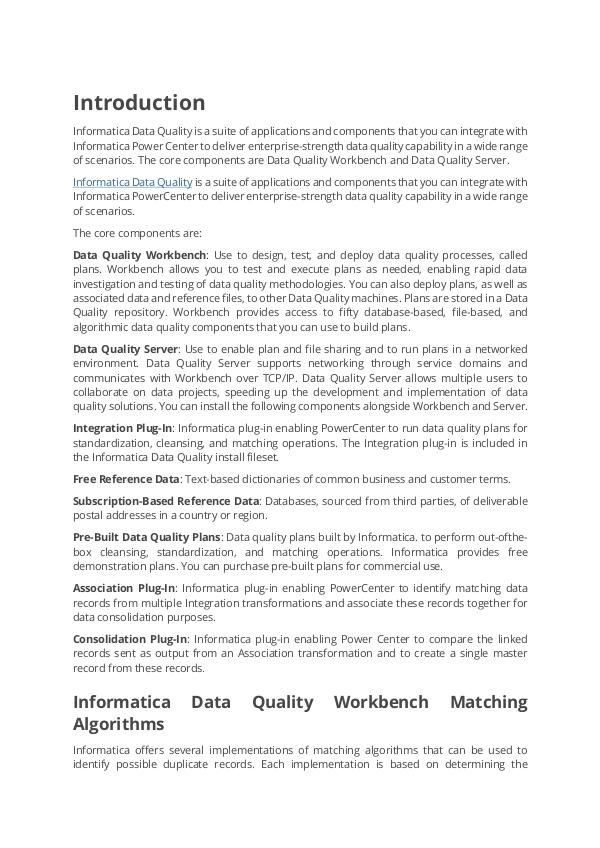 Tutorials on Informatica Data Quality idq