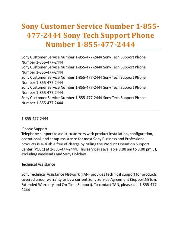 Sony Tech Support Phone Number Sony Customer Service Number