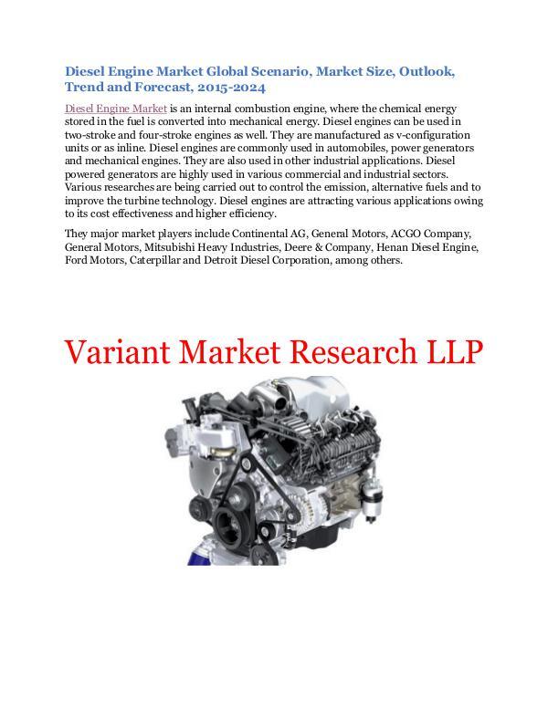 Diesel Engine Market Global Scenario, Market Size, Outlook, Trend and Diesel Engine Market Global Scenario