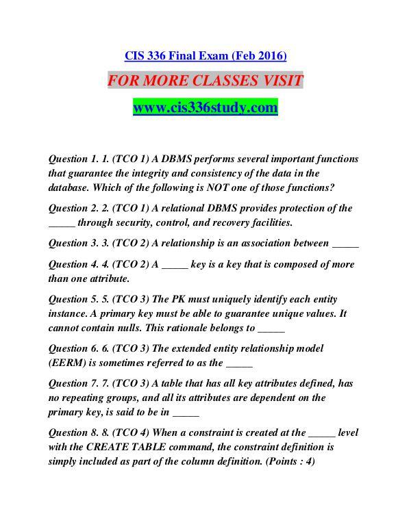 CIS 336 STUDY creative knowledge /cis336study.com CIS 336 STUDY creative knowledge /cis336study.com