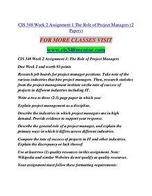 CIS 348 MENTOR creative knowledge /cis348mentor.com