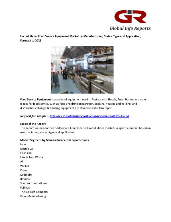 Food Service Equipment Market: Haier, Electrolux, Hoshizaki Food Service Equipment Market