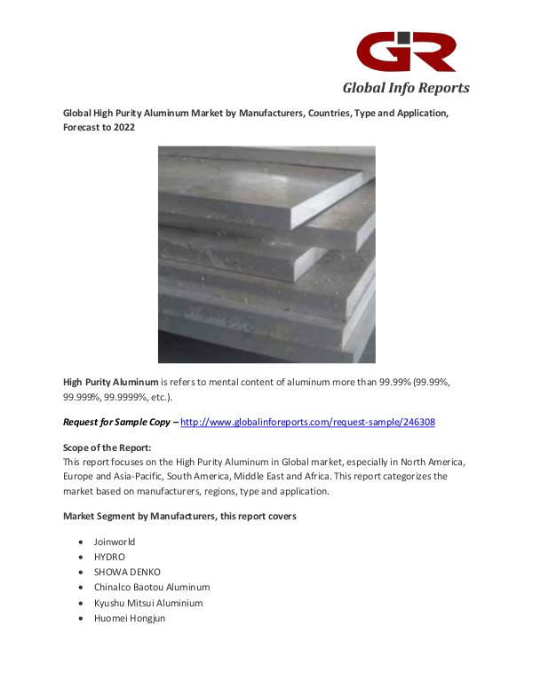 High Purity Aluminum Market by Manufacturers, Countries High Purity Aluminum Market