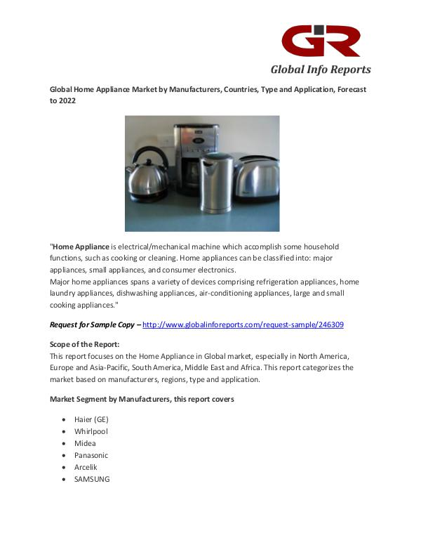 Home Appliance Market by Manufacturers, Countries, Type Home Appliance Market