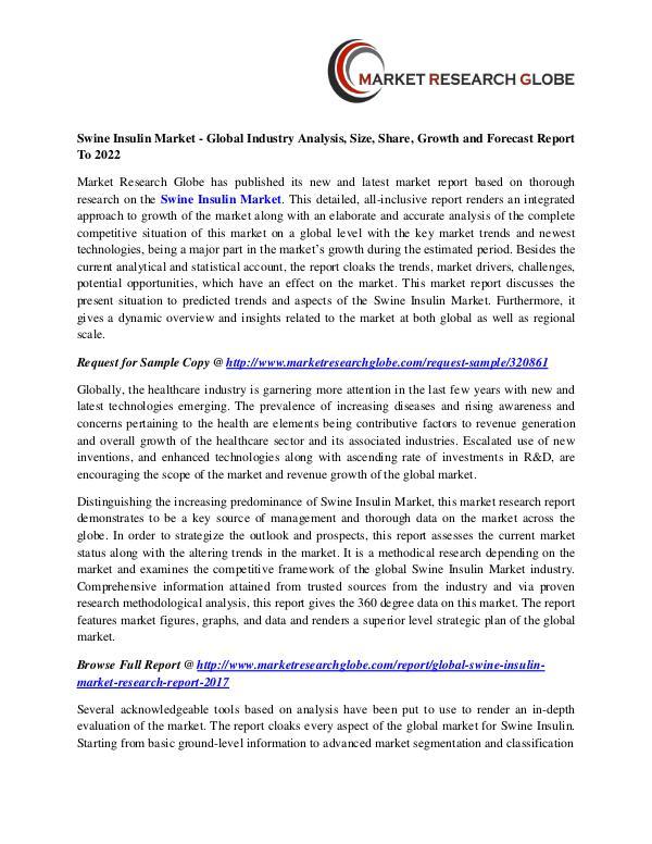 Swine Insulin Market - Global Industry Analysis, Size, Share, Growth Swine Insulin Market