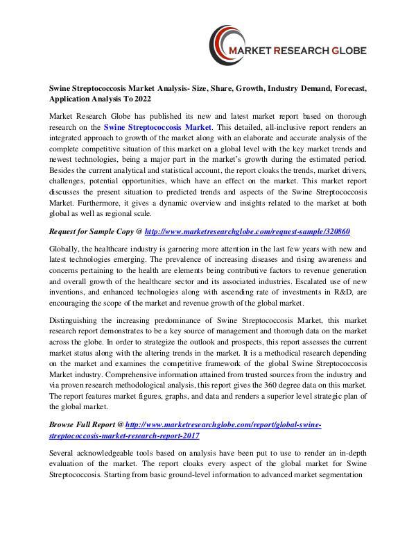 Swine Streptococcosis Market Analysis- Size, Share, Growth, Industry Swine Streptococcosis Market
