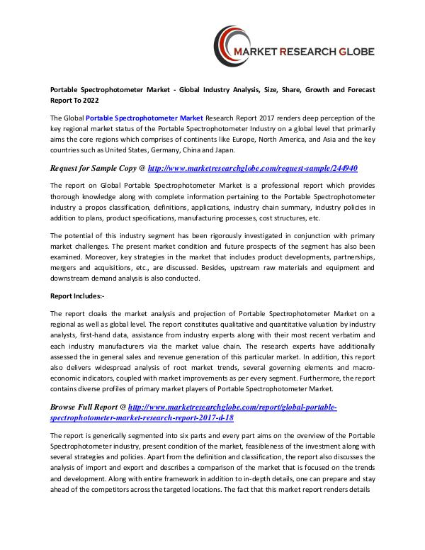 Portable Spectrophotometer Market - Global Industry Analysis Portable Spectrophotometer Market