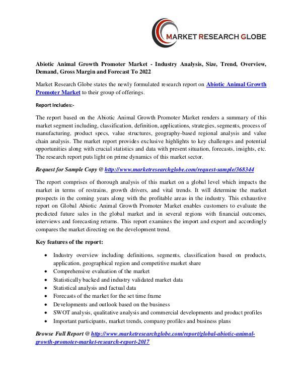 Abiotic Animal Growth Promoter Market Analysis- Size, Share, Trends, Abiotic Animal Growth Promoter Market