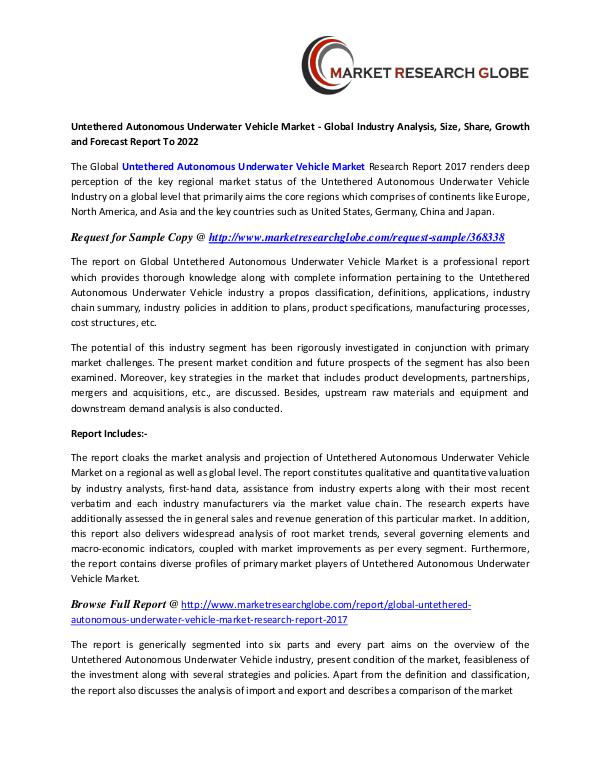Untethered Autonomous Underwater Vehicle Market - Global Industry Untethered Autonomous Underwater Vehicle Market
