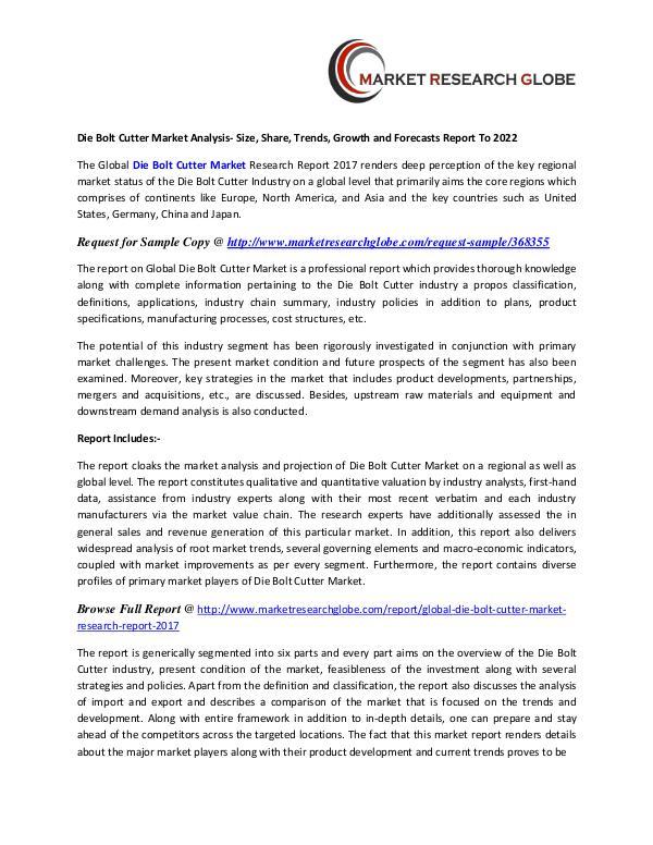 Die Bolt Cutter Market Analysis, Segment, Trends and Forecasts 2022 Die Bolt Cutter Market