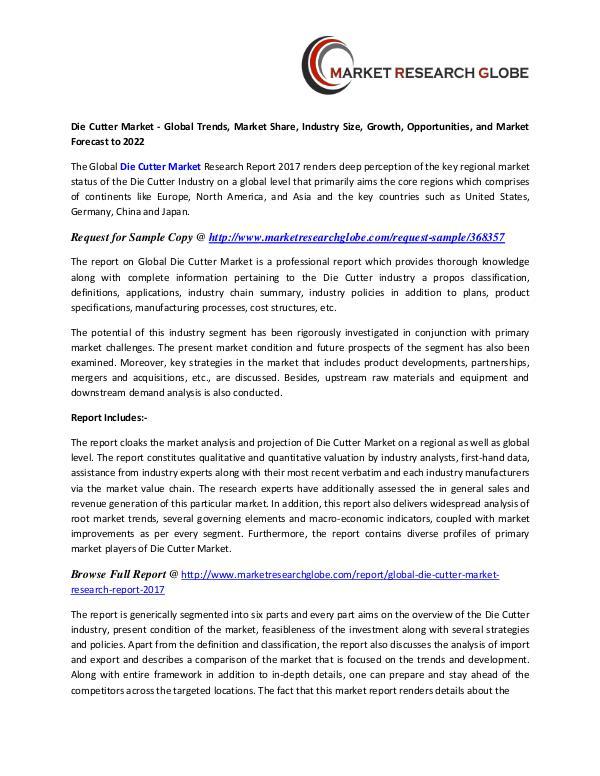 Die Cutter Market 2022 - Industry Survey, Market Size, Competitive Die Cutter Market