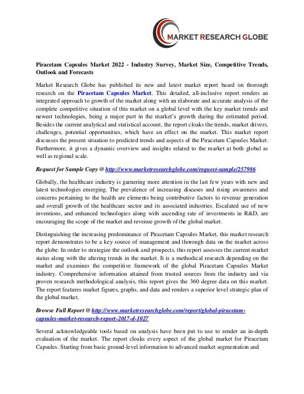 Piracetam Capsules Market - Industry Analysis, Size, Trend, Overview, Piracetam Capsules Market