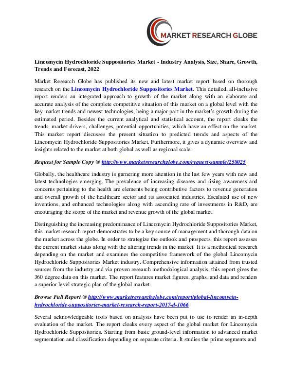 Lincomycin Hydrochloride Suppositories Market Analysis- Size, Share, Lincomycin Hydrochloride Suppositories Market