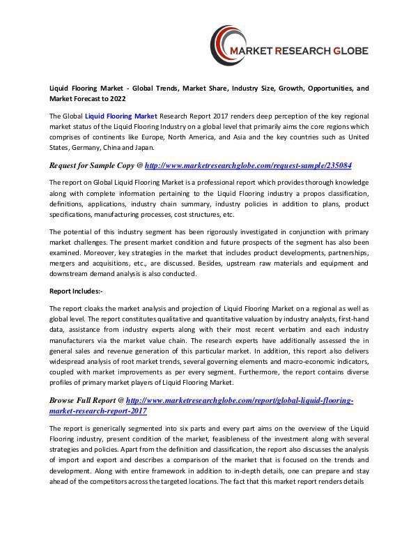 Liquid Flooring Market 2022 - Industry Survey, Market Size Liquid Flooring Market