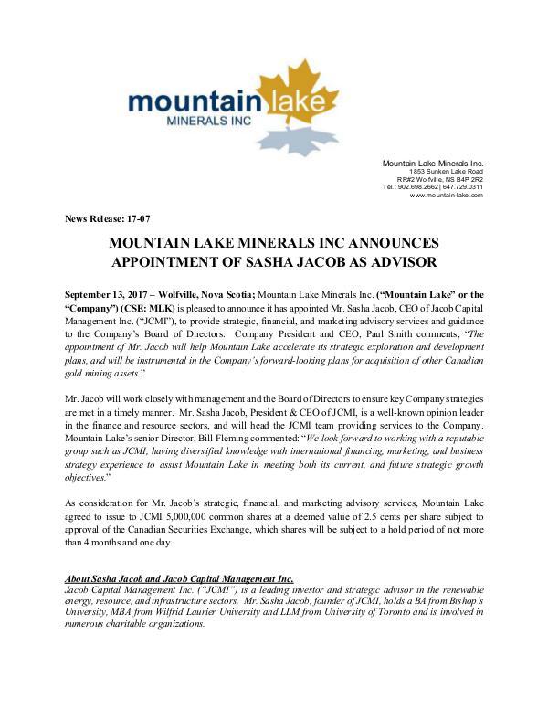 Sasha Jacob - Jacob Capital Management Inc. Mountain Lake Minerals Inc. Announces Appointment