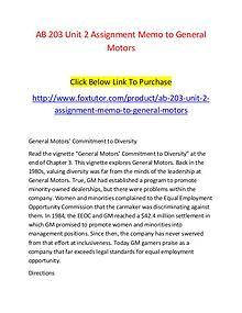 AB 203 Unit 2 Assignment Memo to General Motors - www.foxtutor.com