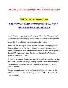 AB 203 Unit 7 Assignment Wal-Mart case study - www.foxtutor.com