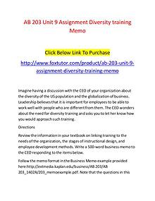 AB 203 Unit 9 Assignment Diversity training Memo - www.foxtutor.com